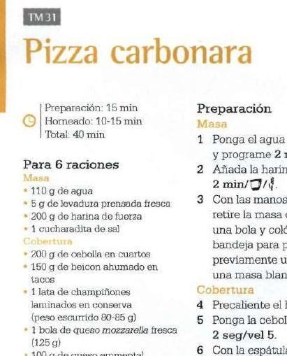 #pizza carbonara   ClippedOnIssuu desde Revista thermomix nº61 caliddo otoño