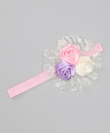 Take a look at this Pink & Ivory Rosette Headband by Charlotte Rose Couture on #zulily today!