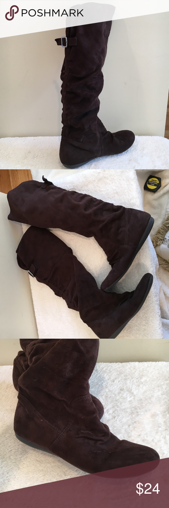 """Report faux suede flat boots ◾️Excellent condition and very comfortable! 19"""" height Report Shoes Winter & Rain Boots"""
