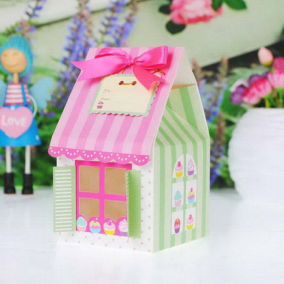 Cupcake Little House - Favor Box - Wedding Gift - Birthday Party - Baby Shower - Cupcake Boxes - 10 pcs