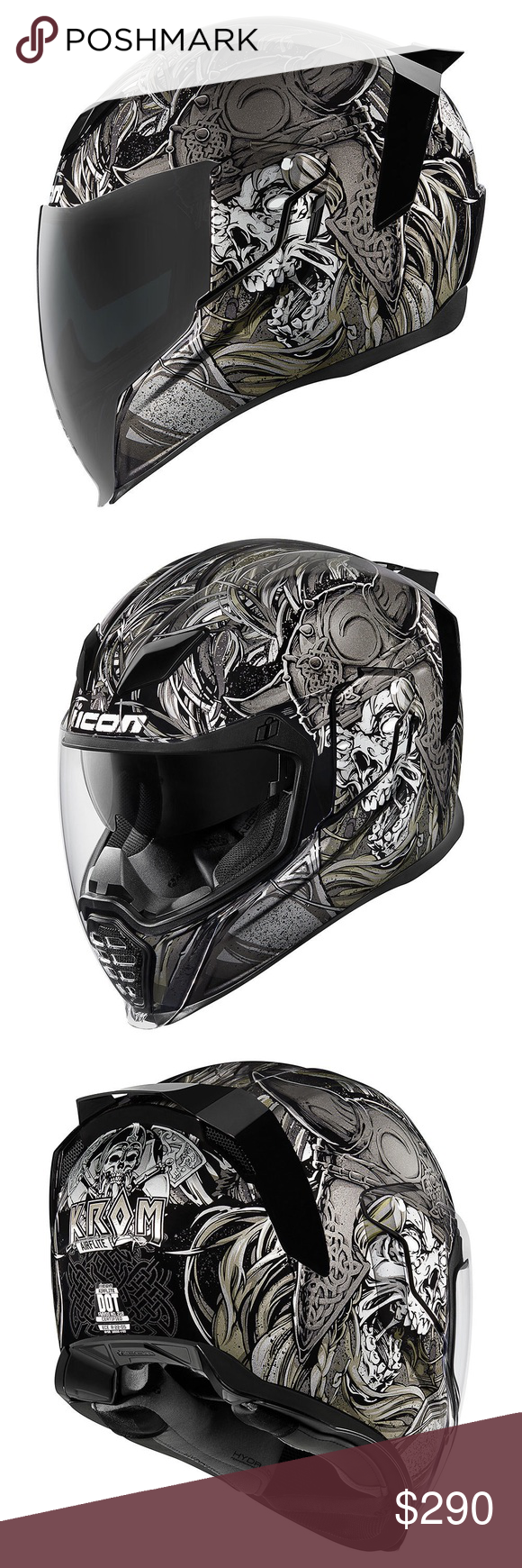 Icon Airflite Krom Motorcycle helmet new WORLD STANDARD