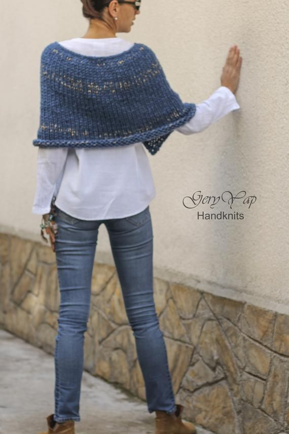 Women's wool acrylic poncho shrug hand knit poncho in blue | Etsy