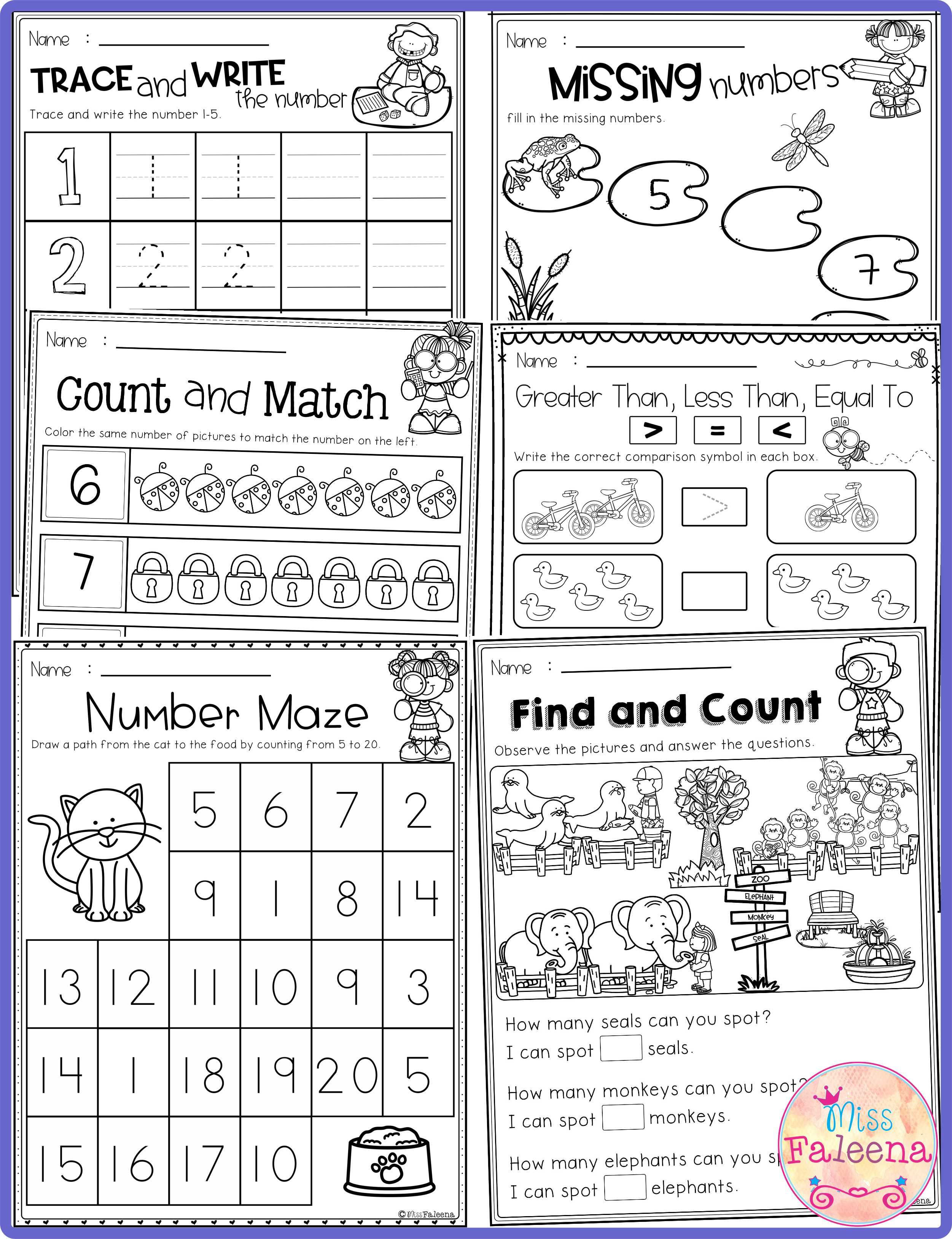 Kindergarten Math Has 120 Pages Of Math Practice Worksheets These Pages Are Great For Kindergarten And First Grade Students Kindergarten Kindergarten Math W