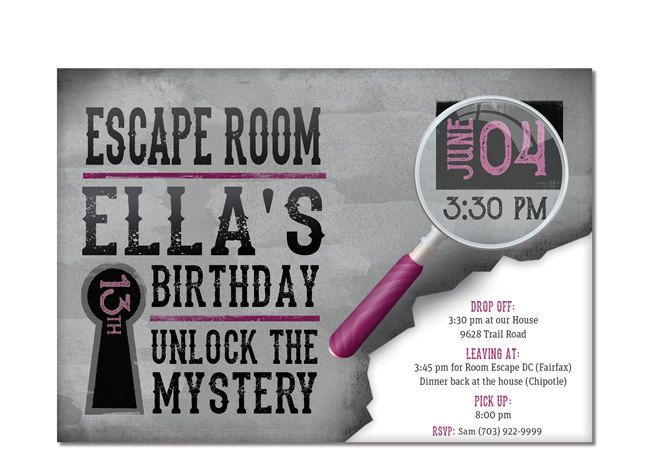 Escape room invite girls birthday by dreambigdesignsllc on for Escape room party