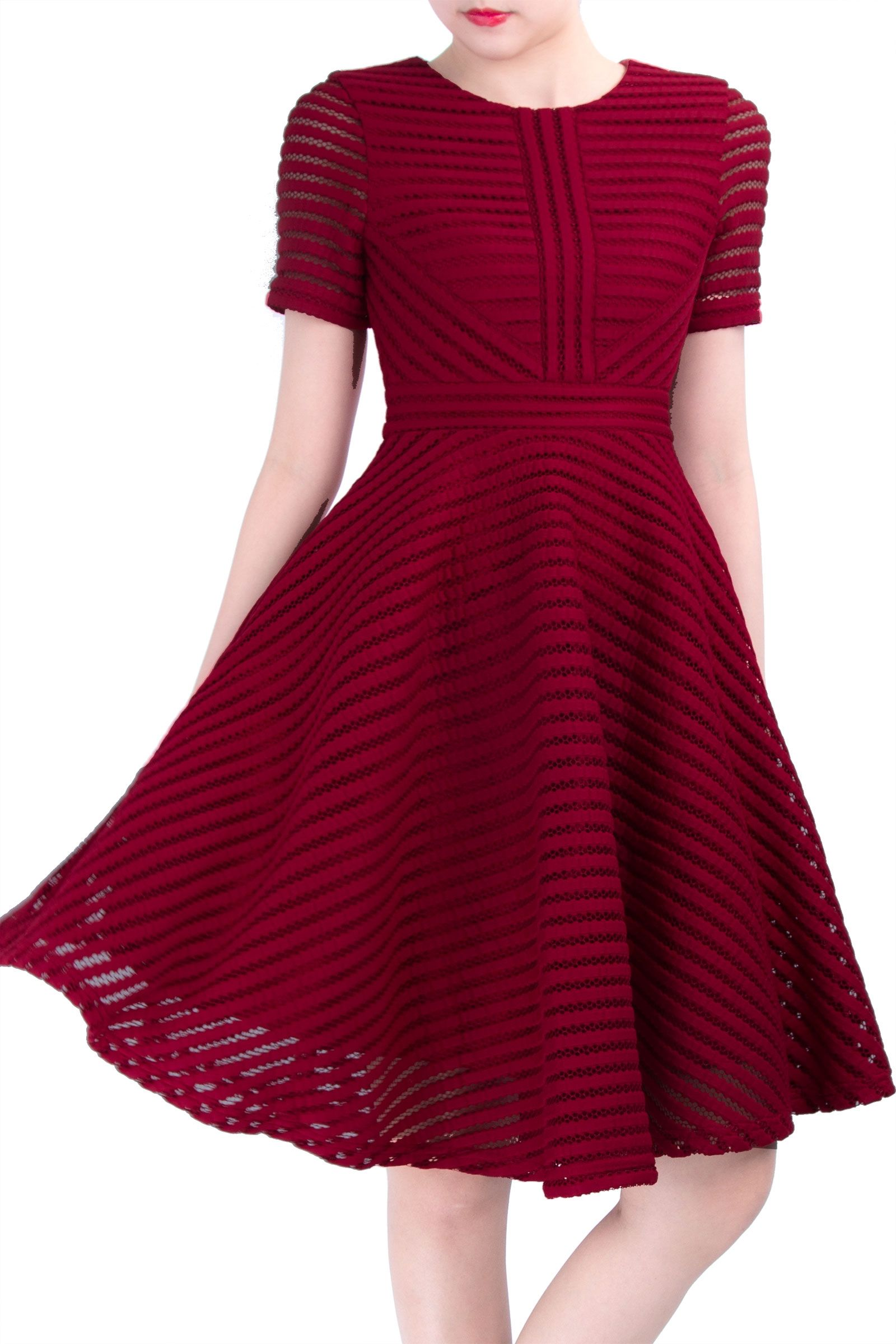 DYHARPER (DARK RED)  SIZE M    Material : Netting polyester. Not Stretchable Details : Featuring scoop neckline, lining, structured flare mode and hidden back zip. Length: 100cm, Bust: 42-44cm, Waist: 34cm, Hips: Flare, Shoulder length: 34cm, Sleeve length: 21cm, Arm hole: 21cm, Sleeve: 14cm Length:39.25 inches, Bust:16.5-17.25 inches, Waist:13.5 inches, Hips: Flare, Shoulder length:13.5 inches, Sleeve length:8.25 inches, Arm hole:8.25 inches, Sleeve:5.5 inches
