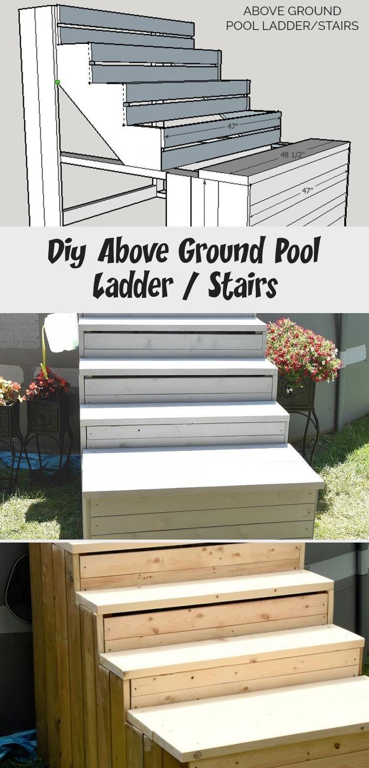 Diy above ground pool ladder stairs decor pool