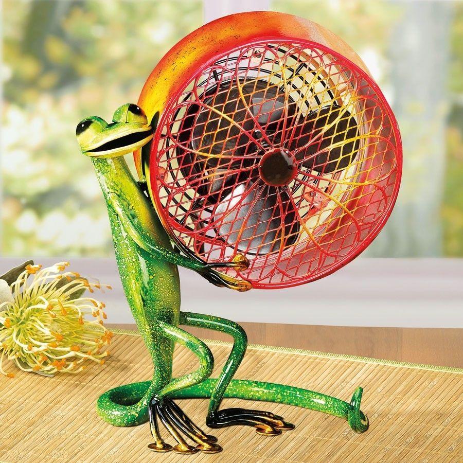 Deco Breeze Gecko Lizard Fan 1 Speed Motor A Great Gift For Lizard Lovers Figurine Fan Metal Fan Deco Breeze Fan