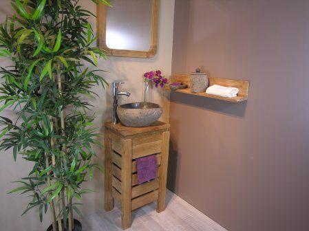 Meuble salle de bain WC ZEN en teck 40cm