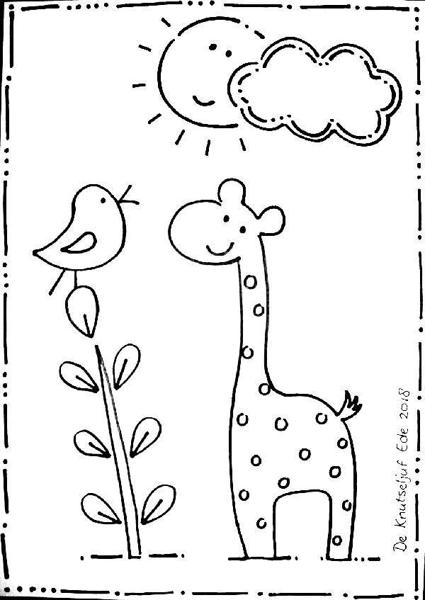 kleurplaat zon giraffe en vogeltje made by de knutseljuf