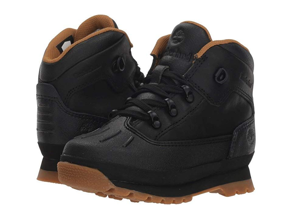 0a308fc008c425 Timberland Kids Euro Hiker Shell Toe (Toddler Little Kid) (Black Full Grain