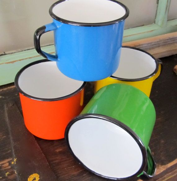SET Of 4 French Enamel MUGS Vintage Enamelware Rustic Farmhouse Kitchen  OUTDOOR Dining Retro Camping Gear