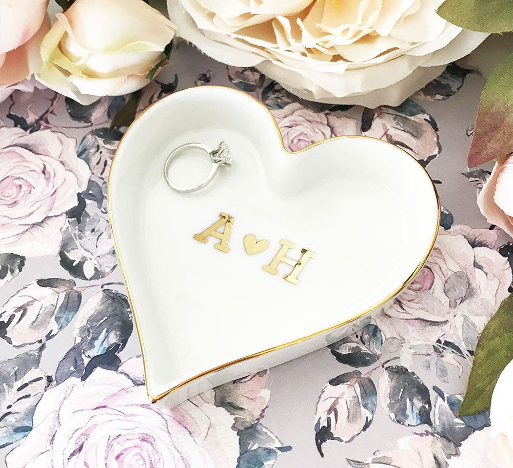 Initials Ring Dish Couples Initial Jewelry Dish Engagement | Wedding ...