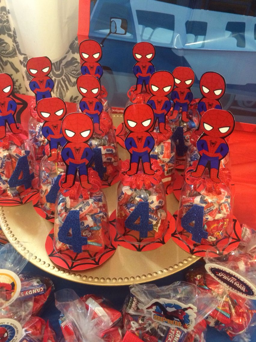 Spider man candy holder party souvenirs spider man - Decoracion de aranas ...