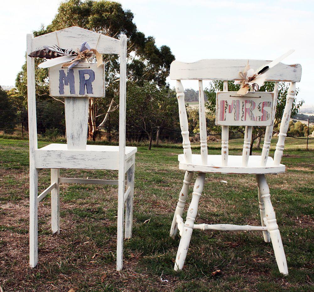 Renovated 'Mr and Mrs' chairs for country weddings http://countryweddingstyle.com/portfolio/mr-mrs-chairs/ #countryweddings #rusticweddings #weddings #vintageweddingprops #vintageweddings #weddingprophire #macedonranges #weddingsinmacedonranges