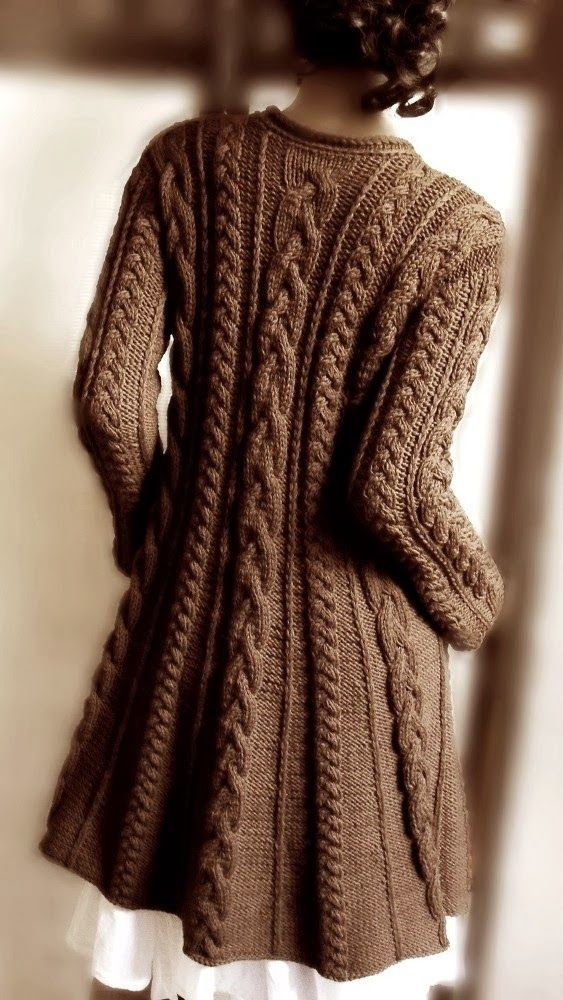 Sweater Coat Knitting Pattern Pdf Cable Knit A Line Coat Instant