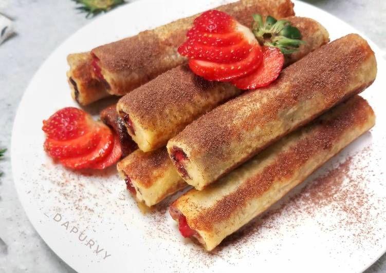Resep Roti Tawar Gulung Coklat Strawberry Oleh Dapurvy Resep Resep Roti Resep Makanan
