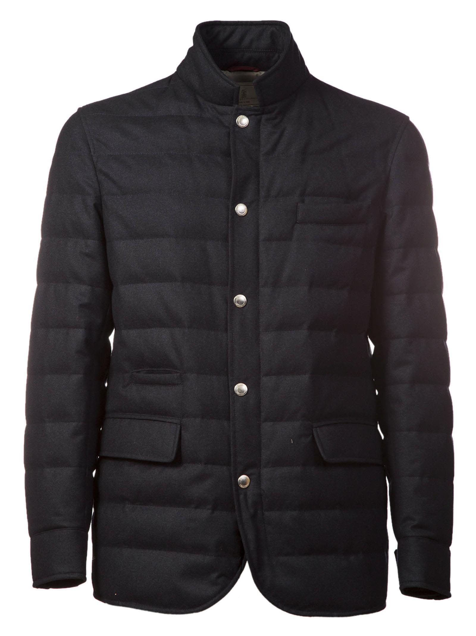 Brunello Cucinelli Padded Shirt Jacket In Bluette Modesens Leather Jacket With Hood Shirt Jacket Jackets