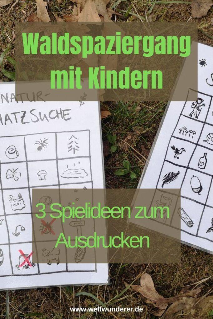 Waldspaziergang mit Kindern: 3 Spielideen als Druckvorlagen