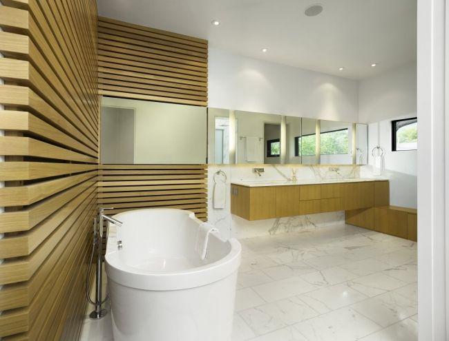 Bad Wandgestaltung Holz Wandpaneele Marmor Kontrast