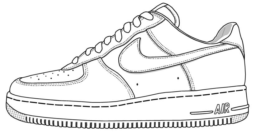 nike shoe coloring page ace images - Air Force Coloring Pages Printable
