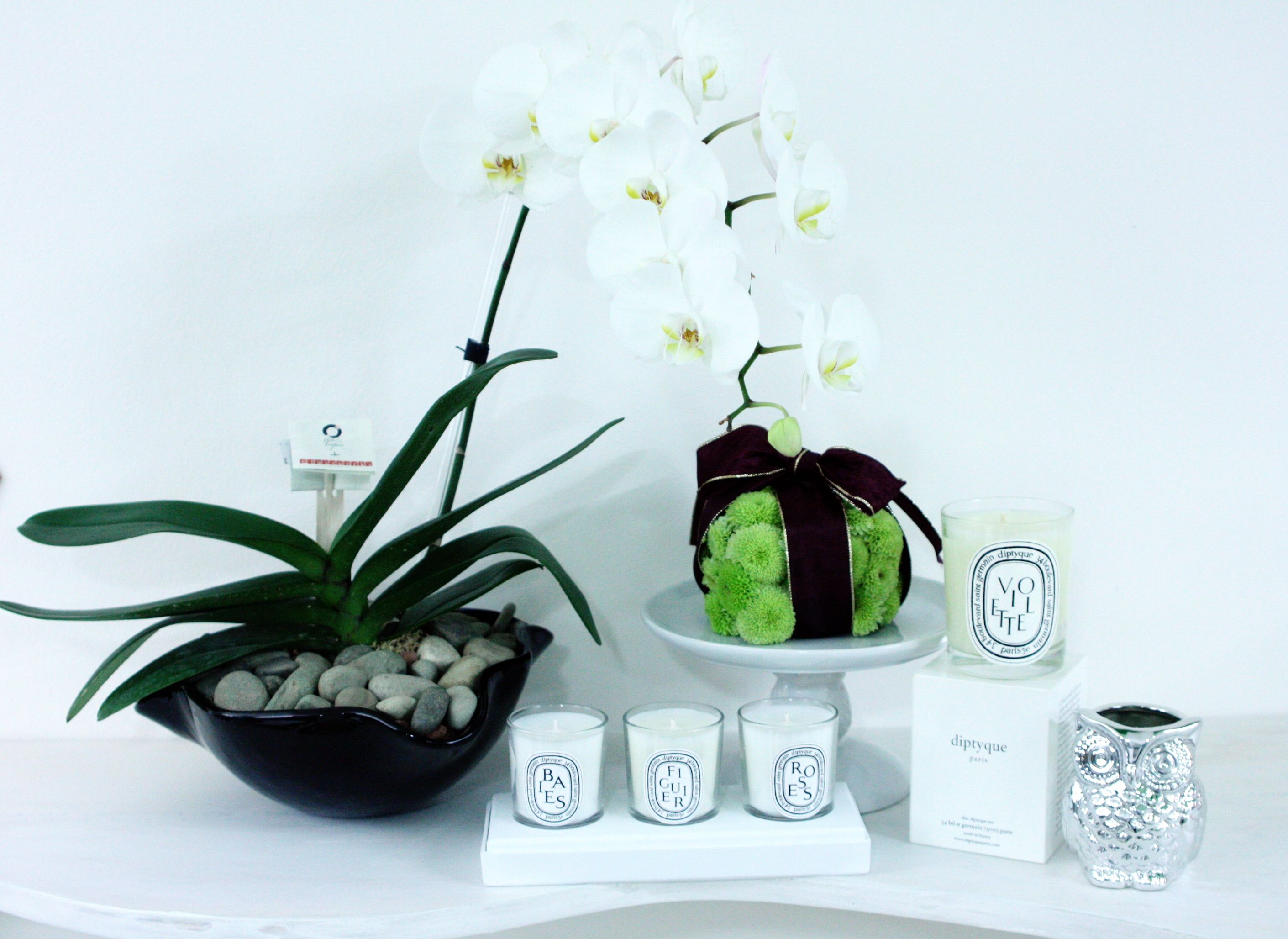 Orquídea blanca en base de vidrio Glassworks y velas Diptyque