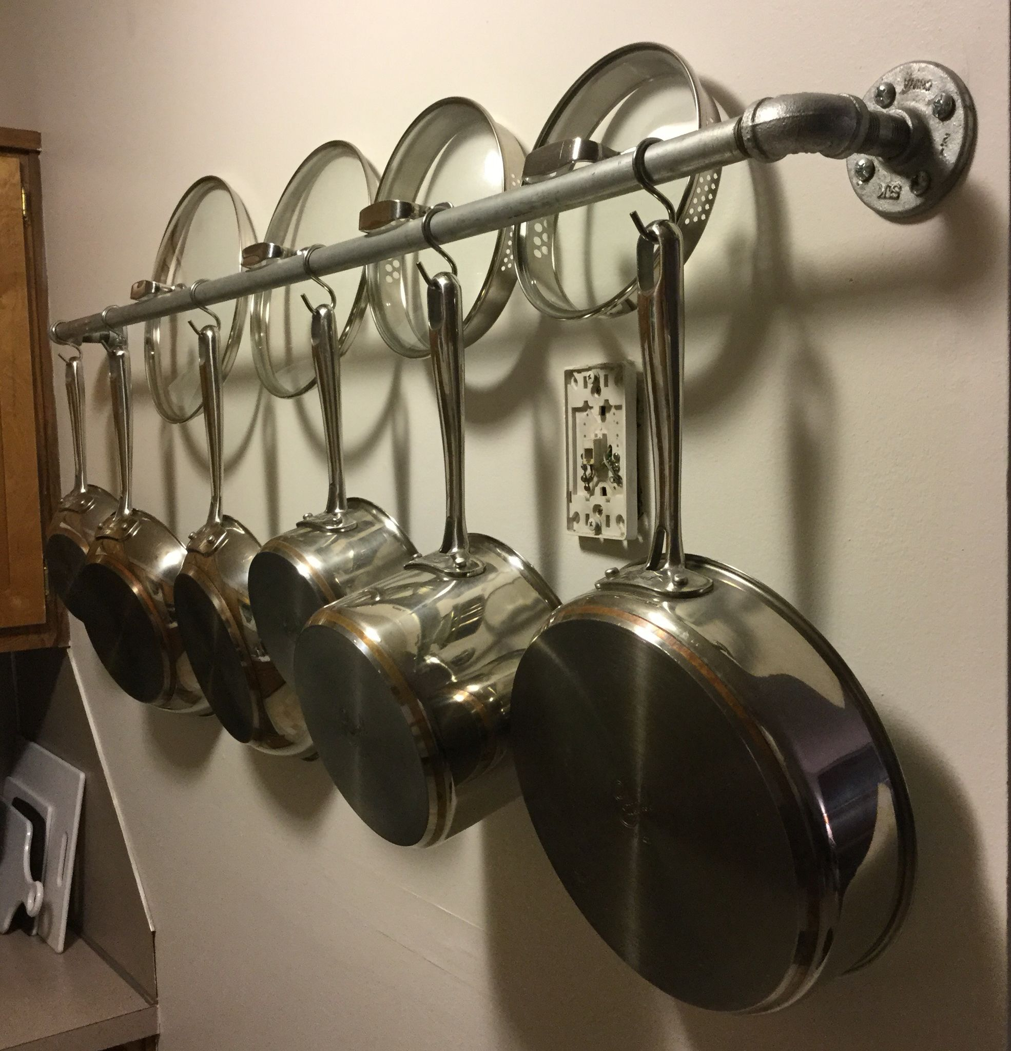 pot hooks pans home wall pan lighted pots bookshelf po hanging rack mount organizer depot for mounted and