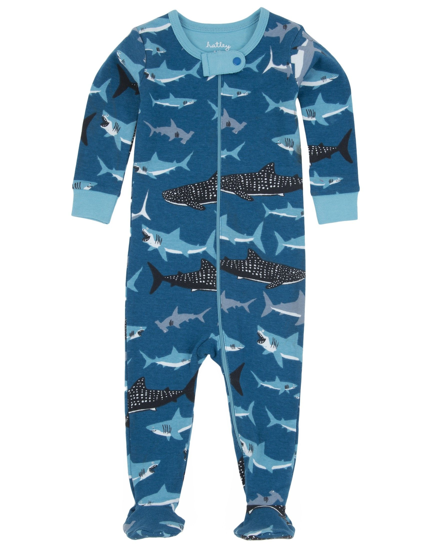 Features:All over sharks printSnug fittingFull length zipperEasy on and offSnap closure at neckNon-slip dots on solesContrast rib cuffsSizes: 0-3M, 3-6M, 6-12M, 12-18M, 18-24M. Check drop down list for size availability. 100% Cotton.
