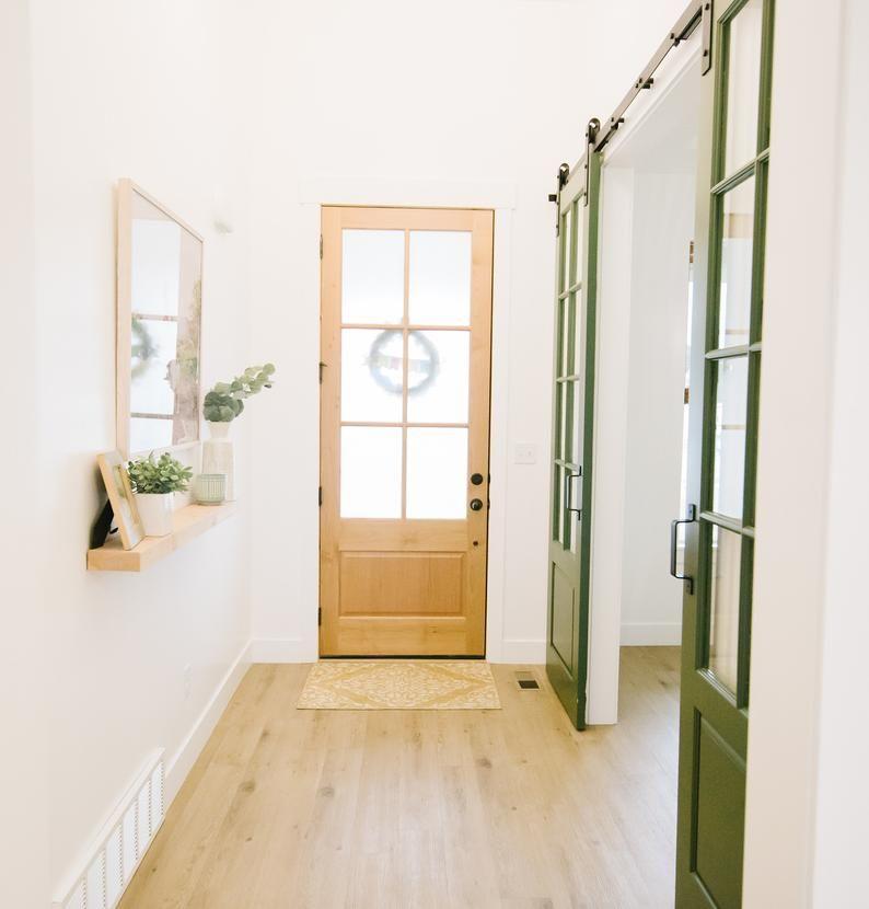 Custom Built Glass French Doors Sliding Barn Door Hinge Etsy In 2020 Glass French Doors Barn Door Hinges Stained Doors