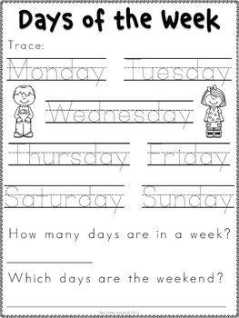 Days of the Week Worksheets   Preschool worksheets ...