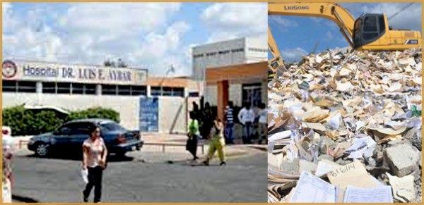 Trabajos demolición hospital Aybar se llevan por delante expedientes médicos