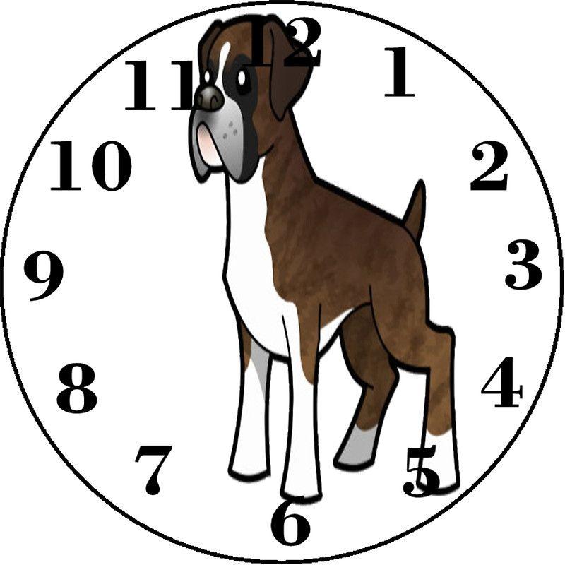 boxer clock brown white boxer