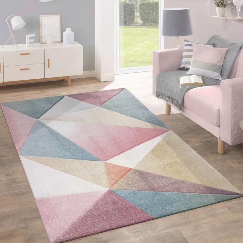 Teppich May in Rosa/Blau Modern rugs living room, Room