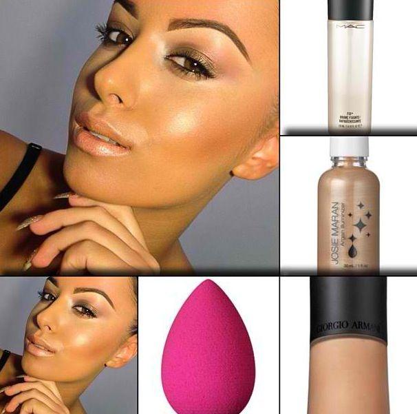 Ultimate dewy skin: Mac fix plus, Josie Maran Argan oil Illuminizer, Armani luminous silk foundation, Beauty blender sponge. Ig: amrezy