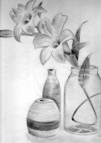 pencil sketching flower, oil flower, pencil color flower, charcoal flower, on flower vase pencil shading