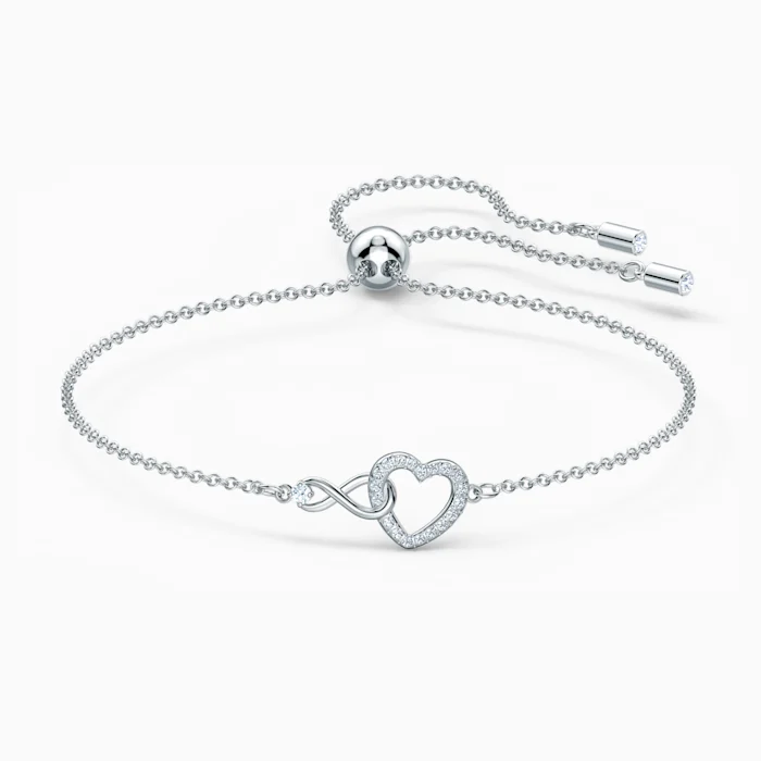 Bracelet Swarovski Infinity Heart, blanc, métal rhodié par ...
