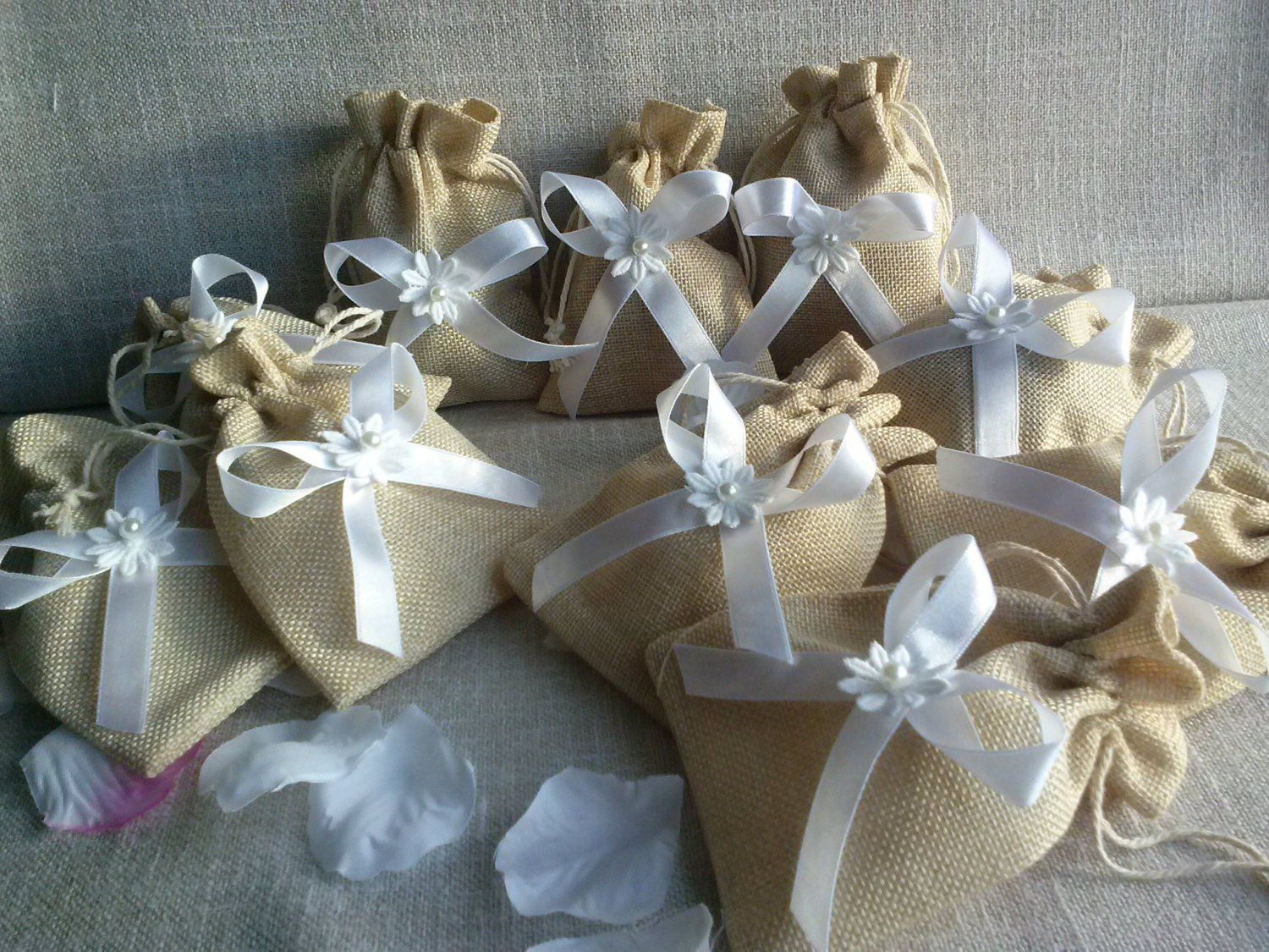 Linen Gift Bags , Natural Linen Bag, Wedding Favor Bags