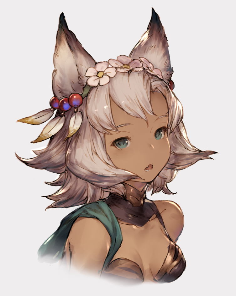 Anime Picture Search Engine 1girl Animal Ears Breasts Cat Ears Dark Skin Flower Granblue Fantasy Gre Character Design Animation Character Design Animal Ears