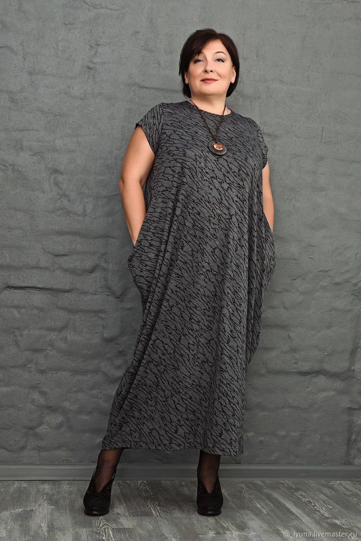 afeed3ee090 Купить Платье-ромб с коротким рукавом серый с черным рисунком. Арт. 1063 в  интернет магазине на Ярмарке Мастеров