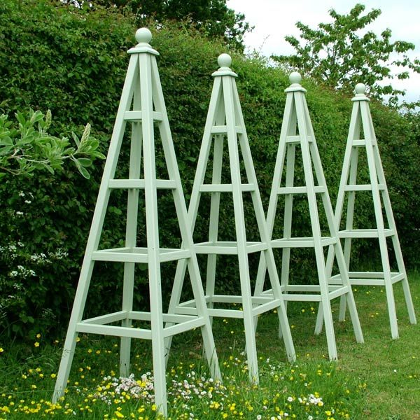 Wooden Garden Obelisks Farrow Ball Cooking Apple Green 600×600 Pixels