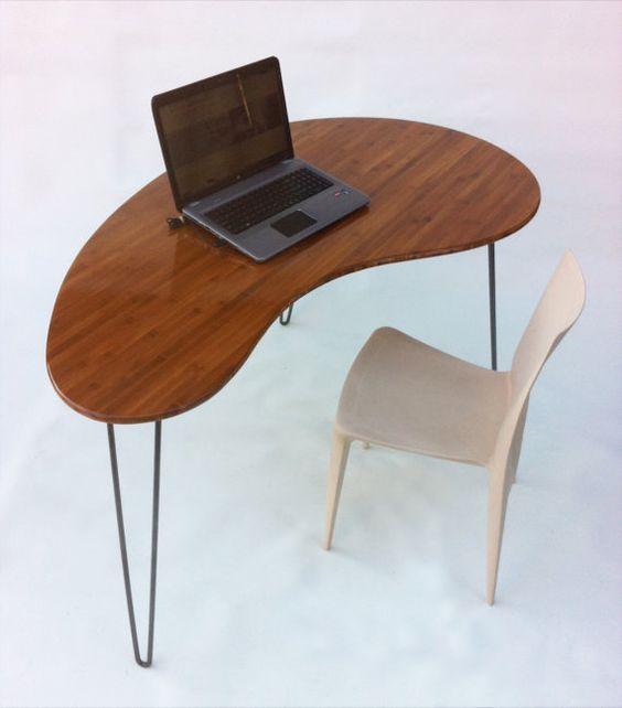 Mid Century Modern Desk Kidney Bean Shaped Atomic Era Biomorphic Boomerang Design In Caramelized Bamboo