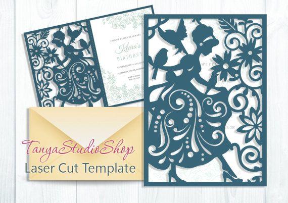 cinderella card svg cdr ai eps studio pattern card templates laser cut silhouette