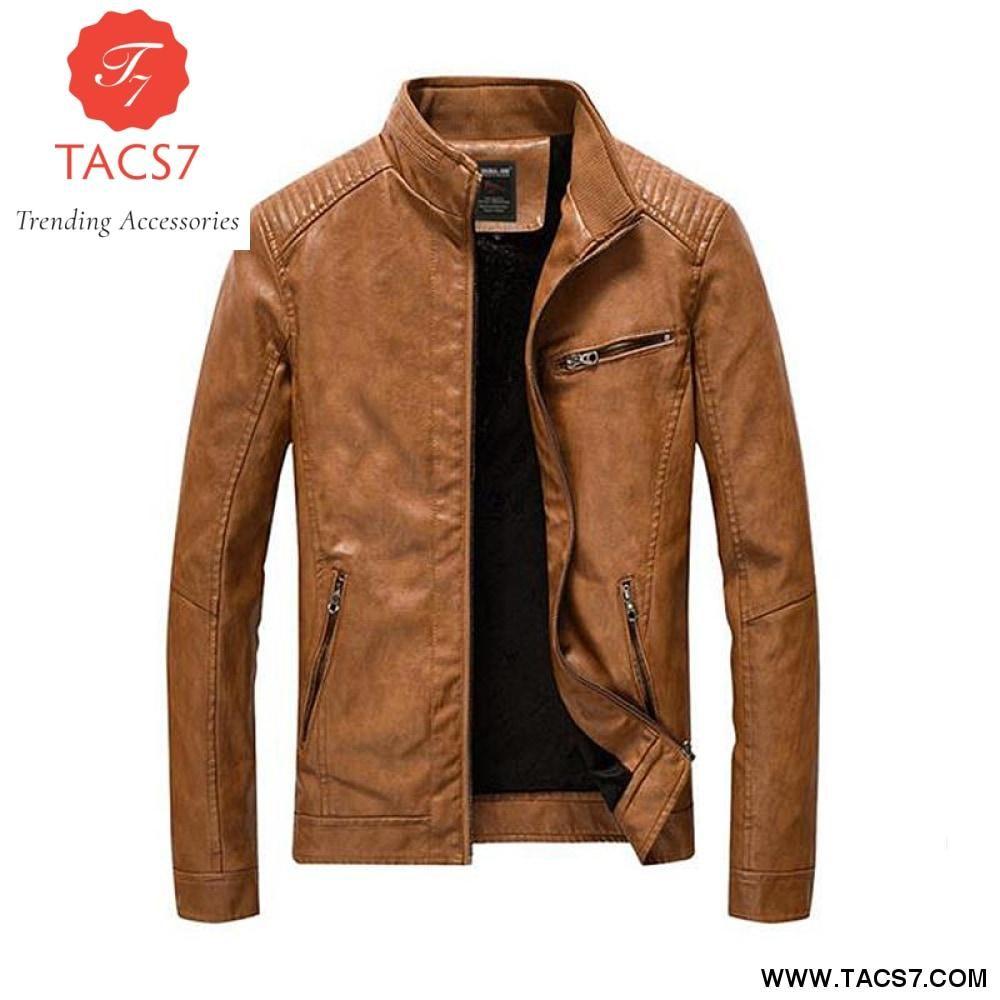 Hot Autumn winter men/'s Slim jacket collar locomotive leather plus velvet coat