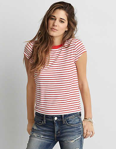 a7ff6a2d923 AEO Soft & Sexy Tomgirl T-Shirt , Red | American Eagle Outfitters ...