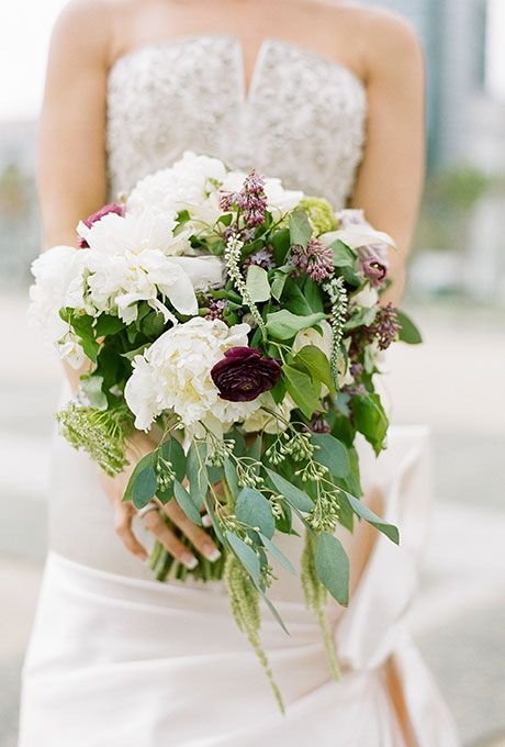 Fall Wedding Bouquet White Peonies Purple Spray Roses Blue Bells And Greenery