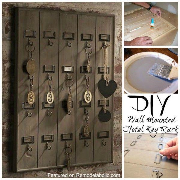 DIY Wall Mounted Wooden Hotel Key Rack Tutorial @Remodelaholic