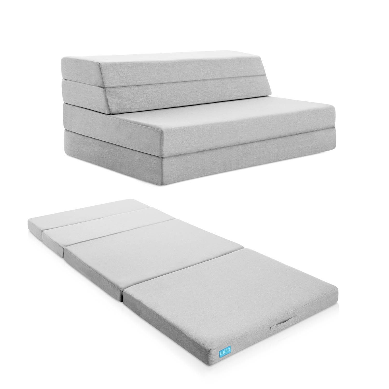 Lucid 4 Inch Gel Memory Foam Folding Mattress Sofa Queen Black Night