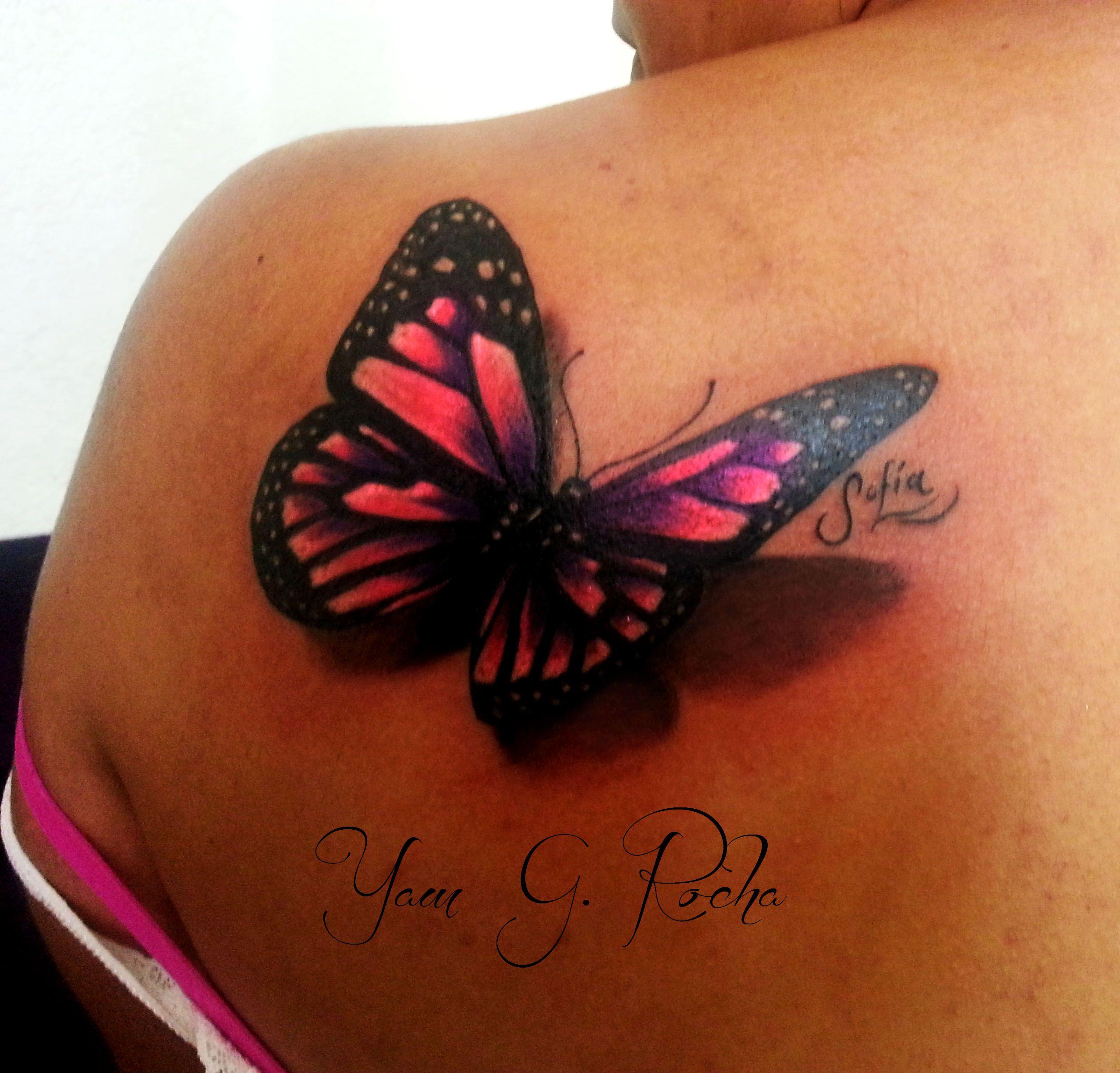 butterfly shoulder back pink purple tattoo butterfly tattoos pinterest purple tattoos. Black Bedroom Furniture Sets. Home Design Ideas