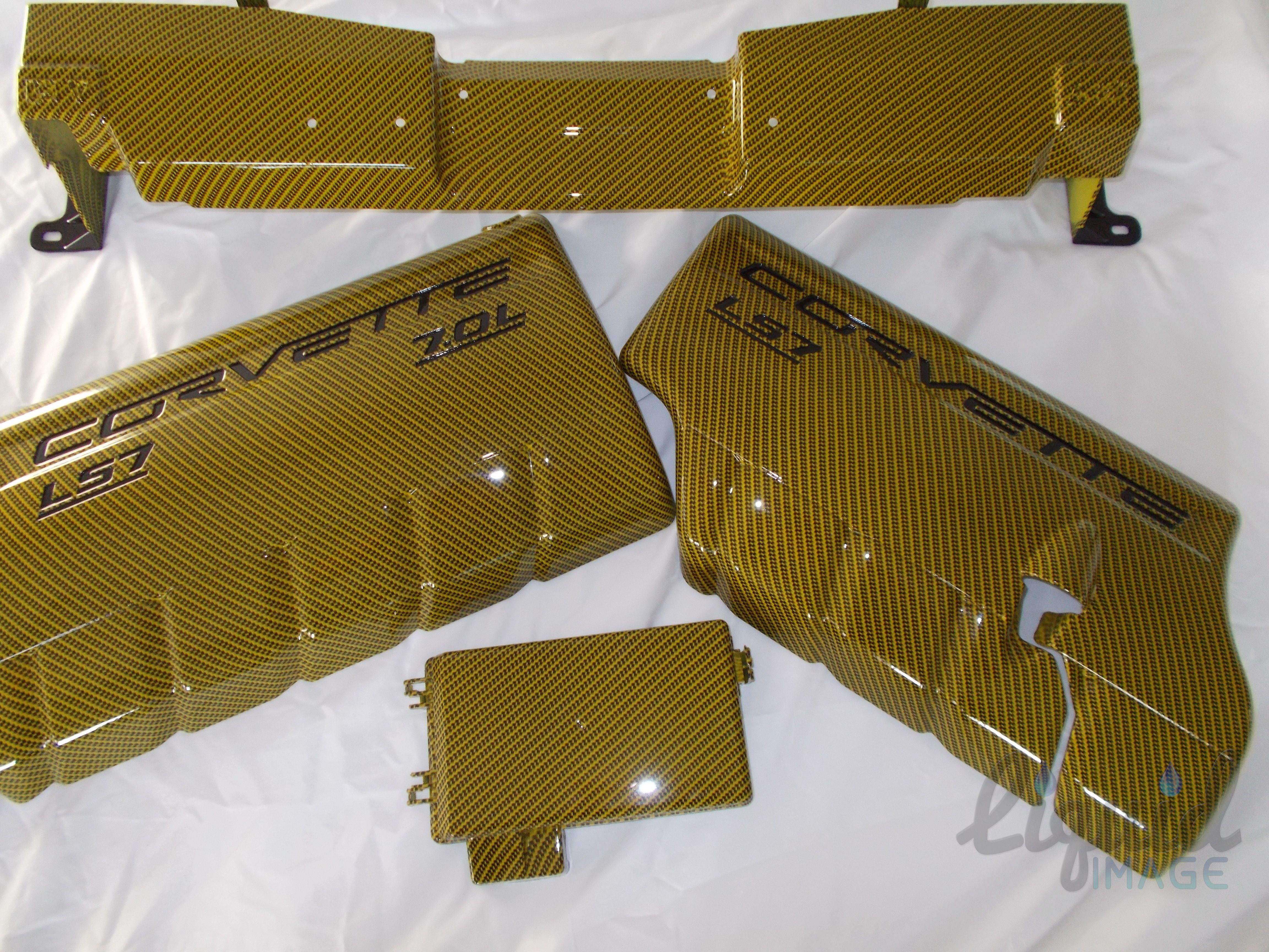 Velocity Yellow With Carbon Fiber Overlay Fuel Rail Covers Fusebox Mustang Fuse Box Cover And Radiator