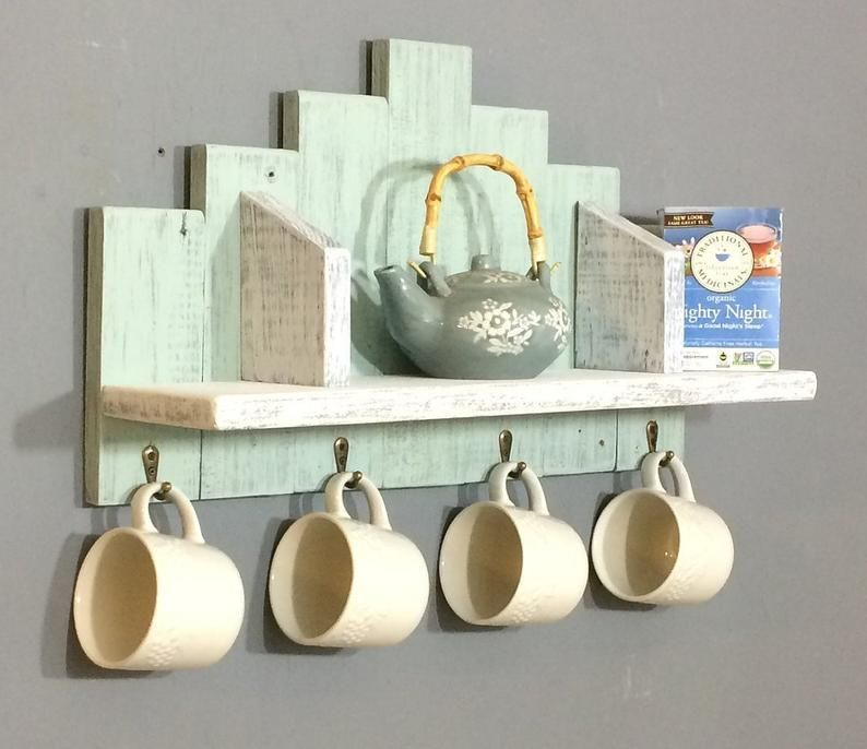 Nautical Wall Shelf For A Bathroom Accent Shelf For A Kitchen Display Shelf With Hooks For Towels Wood Wall Shelf With Hooks For Mugs Wood Wall Shelf Wall Shelf With Hooks
