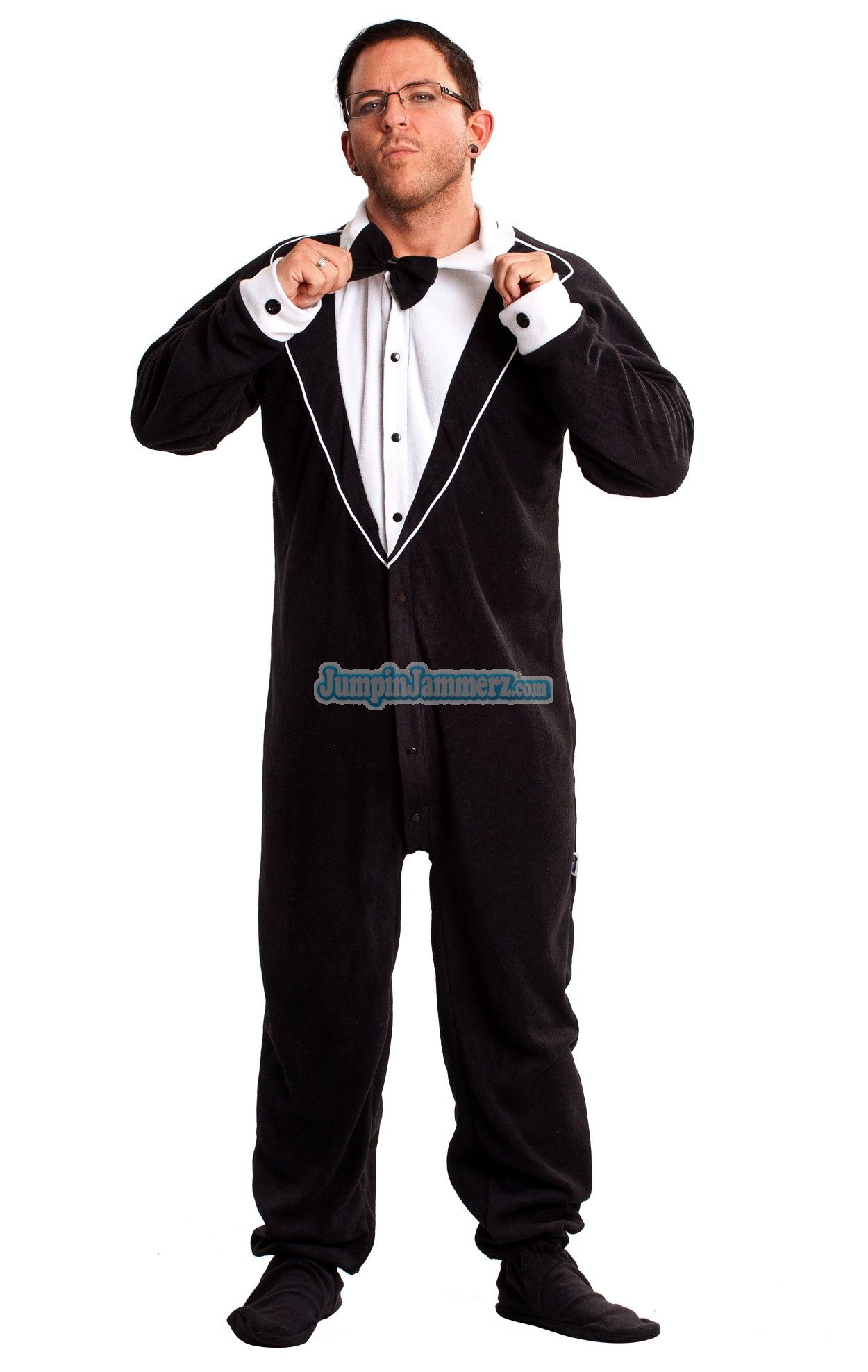 3be60cd4fa05 These Black Tuxedo Footed Pajamas are fun and comfortable. Now ...
